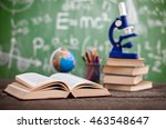 books with globe and microscope ... | Shutterstock . vector #463548647
