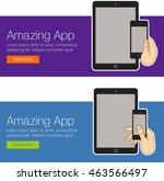 realistic vector laptop  tablet ... | Shutterstock .eps vector #463566497