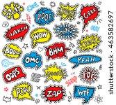 fun patch  denim applique set.... | Shutterstock .eps vector #463582697
