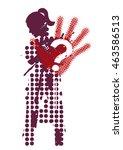female silhouette victim of... | Shutterstock .eps vector #463586513