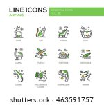 Stock vector animals set of modern vector line design icons and pictograms 463591757