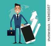businessman smartphone arrow... | Shutterstock .eps vector #463601057
