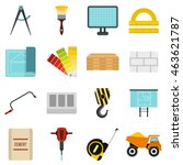 flat construction icons set....