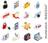 isometric 3d hacking icons set. ...