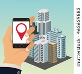 app smartphone tablet hand ... | Shutterstock .eps vector #463639883