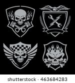 skull motor crest badge emblem... | Shutterstock .eps vector #463684283