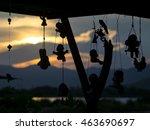 silhouette of hanging ceramic... | Shutterstock . vector #463690697