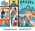 vector illustration with brazil ... | Shutterstock .eps vector #463693127