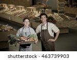 youngs grocery clerk working in ... | Shutterstock . vector #463739903
