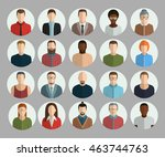 avatars flat vector set icons... | Shutterstock .eps vector #463744763
