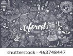 vector forest elements in... | Shutterstock .eps vector #463748447
