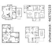 set of ground floor blueprints. ... | Shutterstock .eps vector #463752233