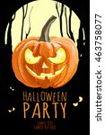 happy halloween party poster ... | Shutterstock .eps vector #463758077