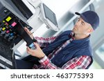 repairing a printer at work | Shutterstock . vector #463775393