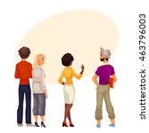 people stand with his back to... | Shutterstock .eps vector #463796003