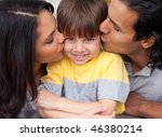 cheerful parents celebrating... | Shutterstock . vector #46380214