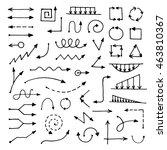 hand drawn vector arrow big set ... | Shutterstock .eps vector #463810367