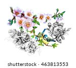 bright birds on branches with... | Shutterstock . vector #463813553