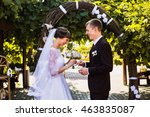 wedding couple on nature with...   Shutterstock . vector #463835087