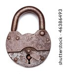 Old Padlock On A White...