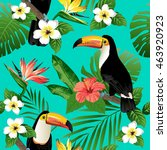 tropical birds and palm leaves... | Shutterstock .eps vector #463920923