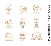 cinema linear icons set. vector ... | Shutterstock .eps vector #463937993