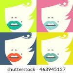 set of woman close up portrait. | Shutterstock .eps vector #463945127