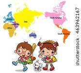 world map and children  let's...   Shutterstock .eps vector #463962167