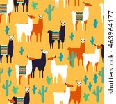seamless pattern with lamas and ...   Shutterstock .eps vector #463964177