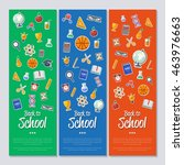 back to school banner with flat ... | Shutterstock .eps vector #463976663