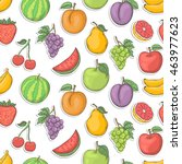 fruit sticker seamless vector... | Shutterstock .eps vector #463977623