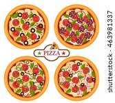 pizza related pictures kinds of ... | Shutterstock .eps vector #463981337