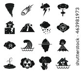 natural disaster icons set in... | Shutterstock . vector #463981973