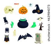 halloween icons in cartoon... | Shutterstock . vector #463984073
