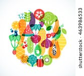 vector pattern of vegetables.... | Shutterstock .eps vector #463986533