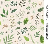 watercolor herbs and leaves... | Shutterstock . vector #463992143