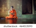 monk reading book ancient church   Shutterstock . vector #464015093