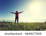 cheering successful woman... | Shutterstock . vector #464017343
