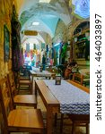 Small photo of ACRE, ISRAEL - AUGUST 03, 2016: Scene of the Turkish Bazaar, with local businesses, locals and tourists, in the old city of Acre, Israel. It is a restored old covered market