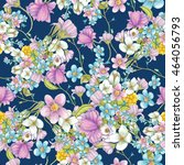 hand drawn wildflowers on blue... | Shutterstock . vector #464056793