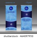 blue roll up banner template... | Shutterstock .eps vector #464097953