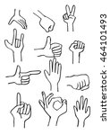 hand icon collection. sketchy... | Shutterstock .eps vector #464101493