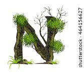 leaves and tree font  on white...   Shutterstock .eps vector #464156627