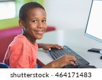portrait of schoolboy using... | Shutterstock . vector #464171483