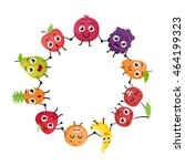 cartoon fruits characters | Shutterstock .eps vector #464199323