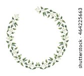 watercolor floral wreath with... | Shutterstock . vector #464225663