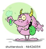 happy monster holding a green... | Shutterstock .eps vector #46426054