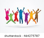 group of children jumping  ... | Shutterstock .eps vector #464275787