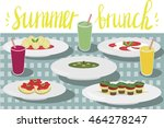 summer brunch drawing  | Shutterstock .eps vector #464278247