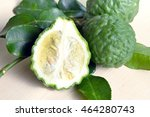 Small photo of Bergamot (Also known as Kaffir lime, Citrus lime, Citrus bergamia, Citrus, Bergamot, Magnoliophyta Rutaceae) fruits with leaf